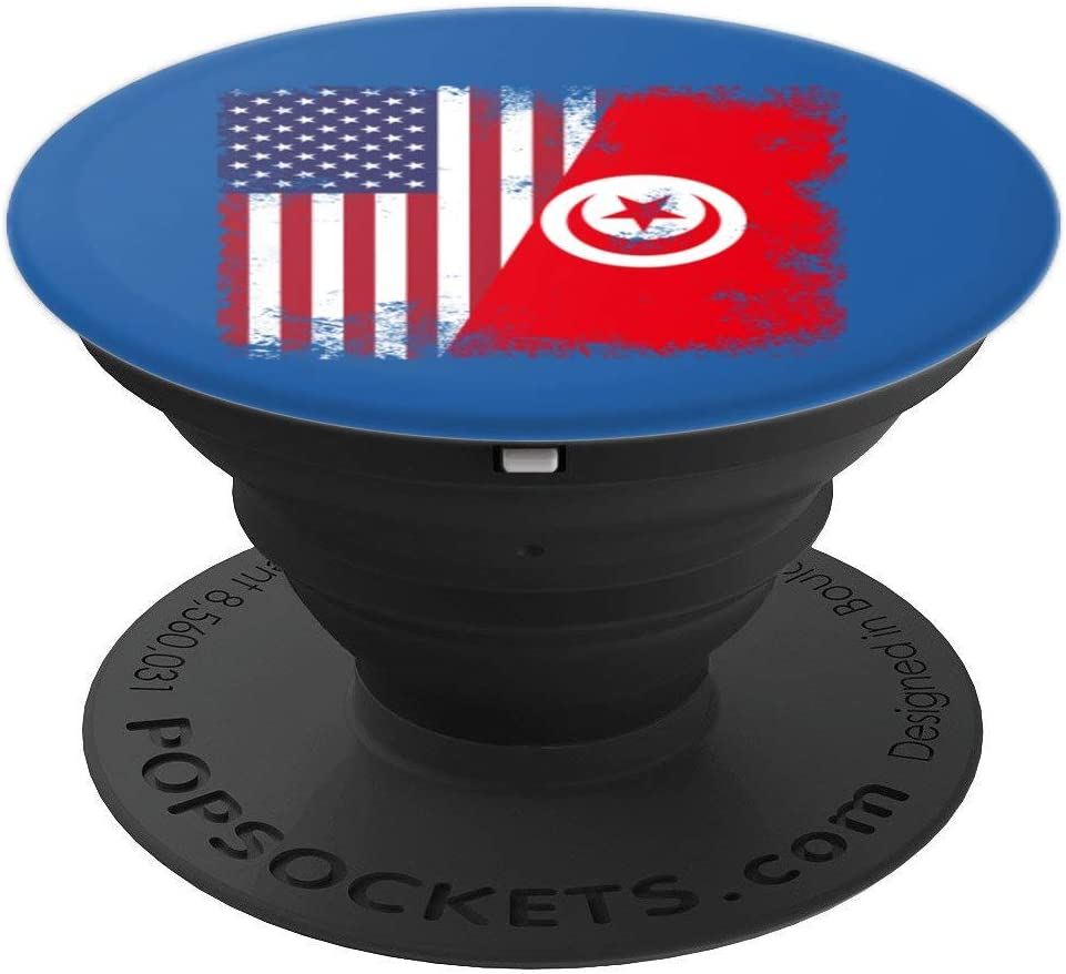 Amazon Com Half Tunisian Flag Design Vintage Tunisia Usa Gift Popsockets Grip And Stand For Phones And Tablets