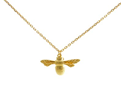 Gold plated sterling silver vermeil bumble bee pendant necklace gold plated sterling silver vermeil bumble bee pendant necklace with intricate details aloadofball Gallery