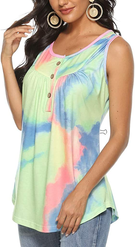 Womens Tank Top Summer Round Neck Gradient Printed Sleeveless T-Shirt Tunic Blouse Racerback Tops by SIN+MON
