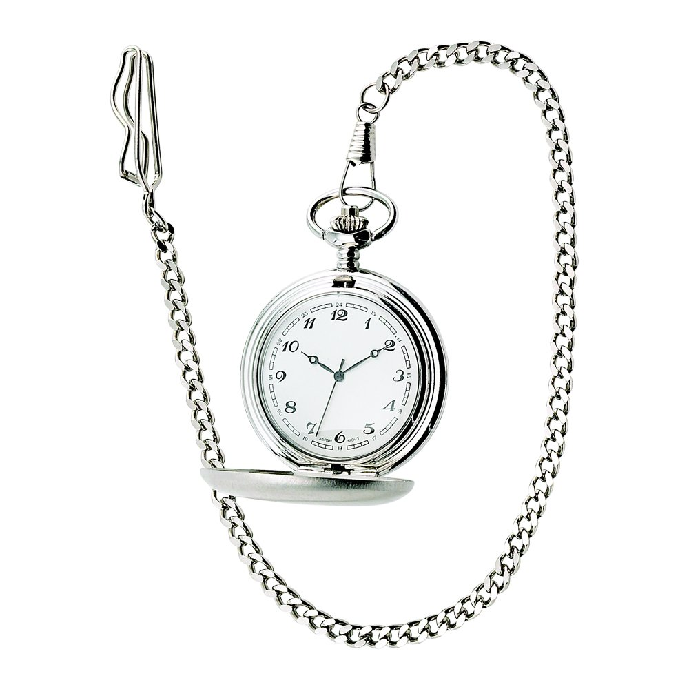 Brushed SS Pocket Watch W/ 12'' Chain