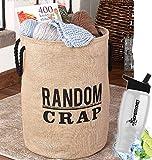 HomeCricket Gift Included- Inspirational Phrase Storage & Organization Bin with Words Random Crap + FREE Bonus Water Bottle by Home Cricket