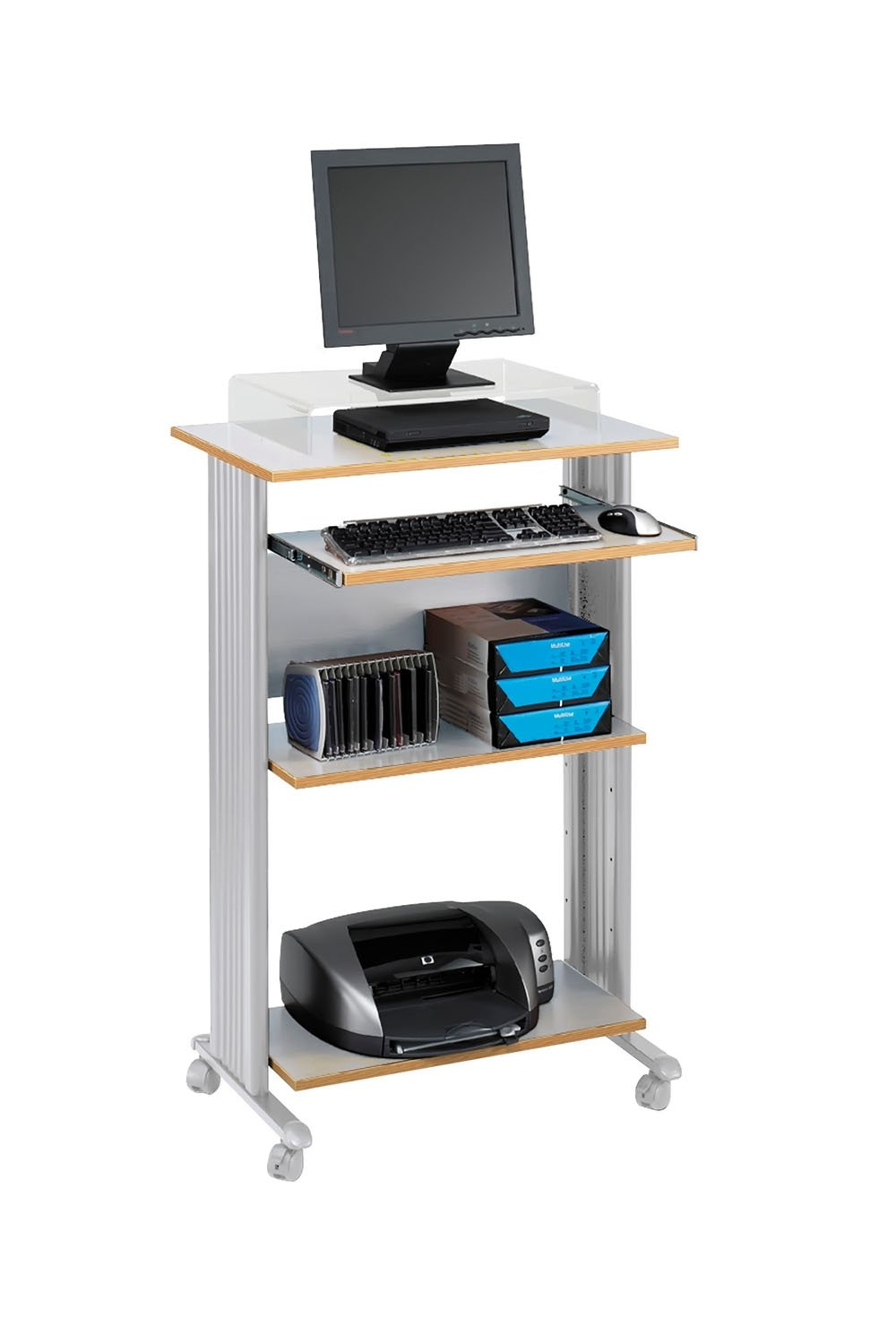 "Amazon.com: Safco Products 1923GR Muv 45""H Stand-Up Desk Fixed Height  Computer Workstation with Keyboard Shelf, Gray: Kitchen & Dining"