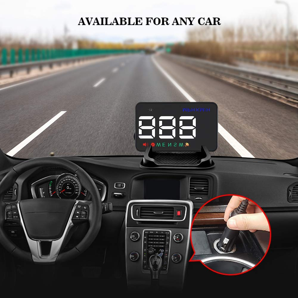 Universal Head up Display for Car,Car Heads up Display Digital Speedometer 3.5 inch Car Compass with Speed, Compass, Overspeed Alarm, KPH/MPH, Windshield Projector with Film by color tree