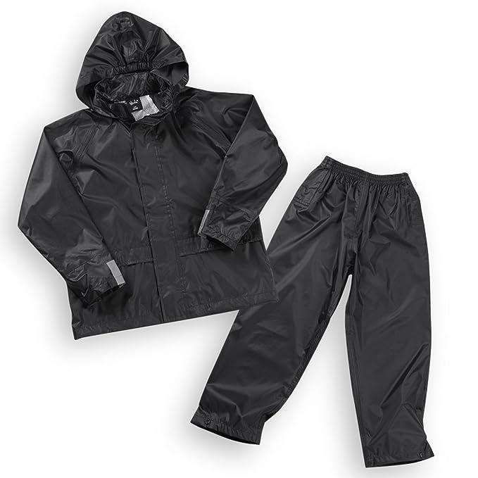 5b82aace17e44 Boys Kids Childrens Waterproof Jacket Coat Trousers Pants Set Hooded  Tracksuit: Amazon.co.uk: Clothing