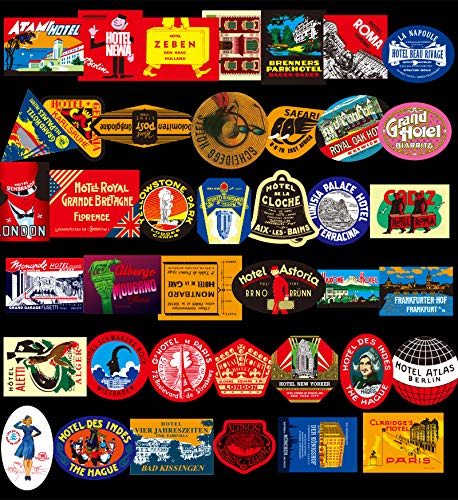 (Non-Repeated 40 Pack Vintage Hotel Stickers for Luggage Skateboard Laptop, Medium Size, Waterproof, Reusable)