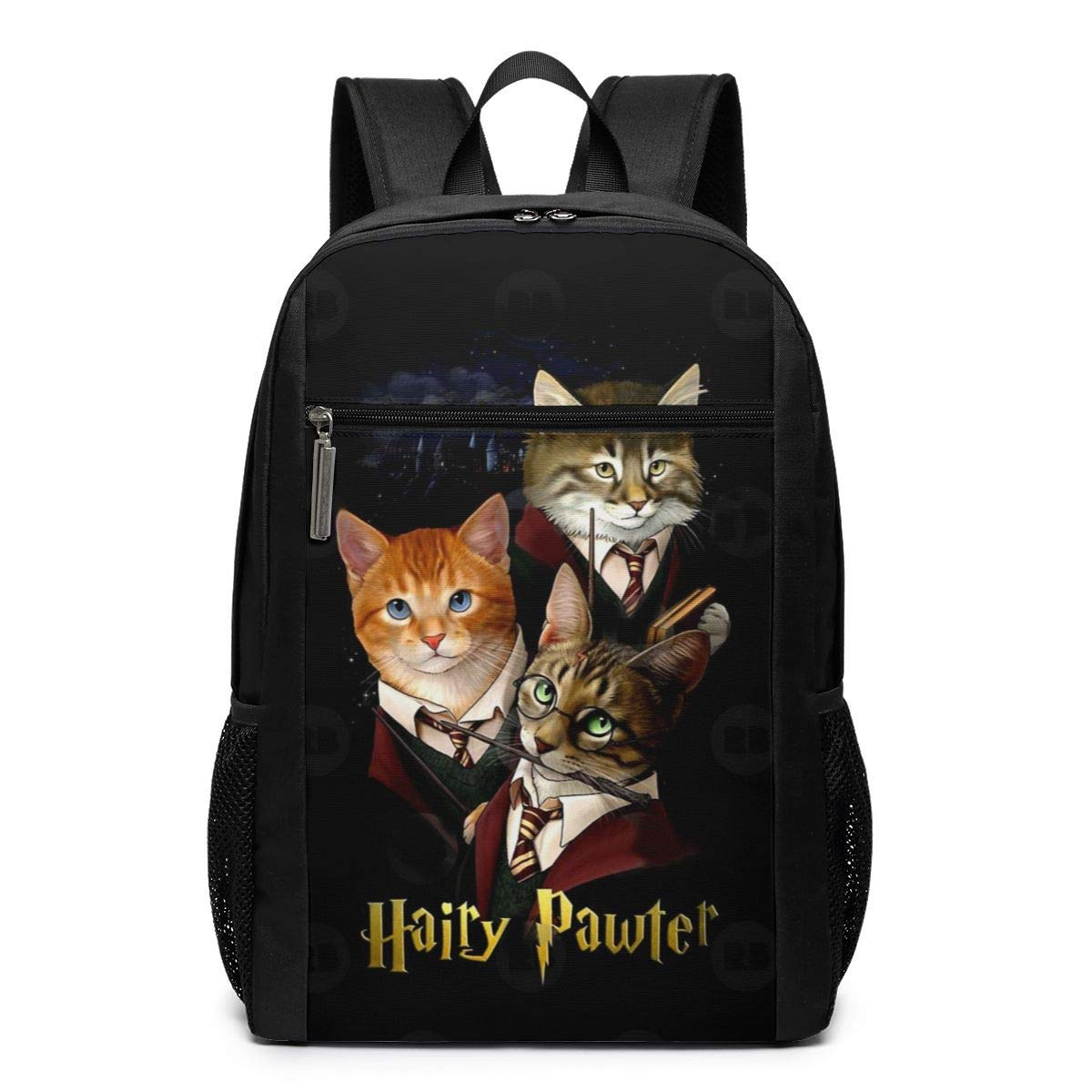 Hairy Pawter Funny Cats Travel Laptop Backpack Durable College School Computer Bag for Men Women Kids Backpacks