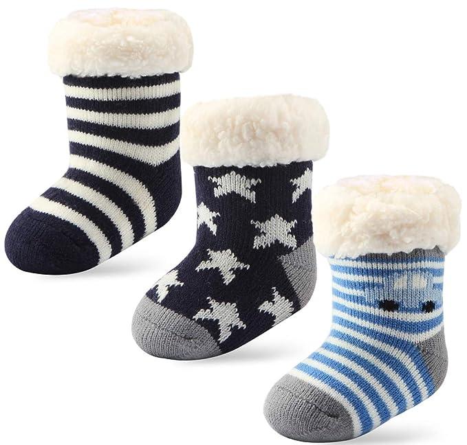 fc5b2abecf94 Amazon.com: 3 Pairs Newborn Infant Toddler Slipper Socks Baby Girls Boys  Grips Socks Christmas Socks Kids Sherpa-lined Fuzzy Home Socks: Clothing