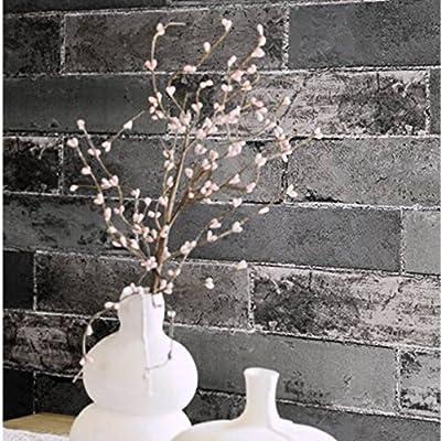 "Birwall 8014 Modern Stylish Brick Wallpaper Wallcoverings Wall Mural, 20.8"" x 393.7"",Gray/Cyan/Black"