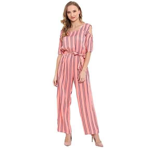 7b3f82e7f6 Molly&Michel Women's Casual Half Sleeves Striped Jumpsuit for Girl ...
