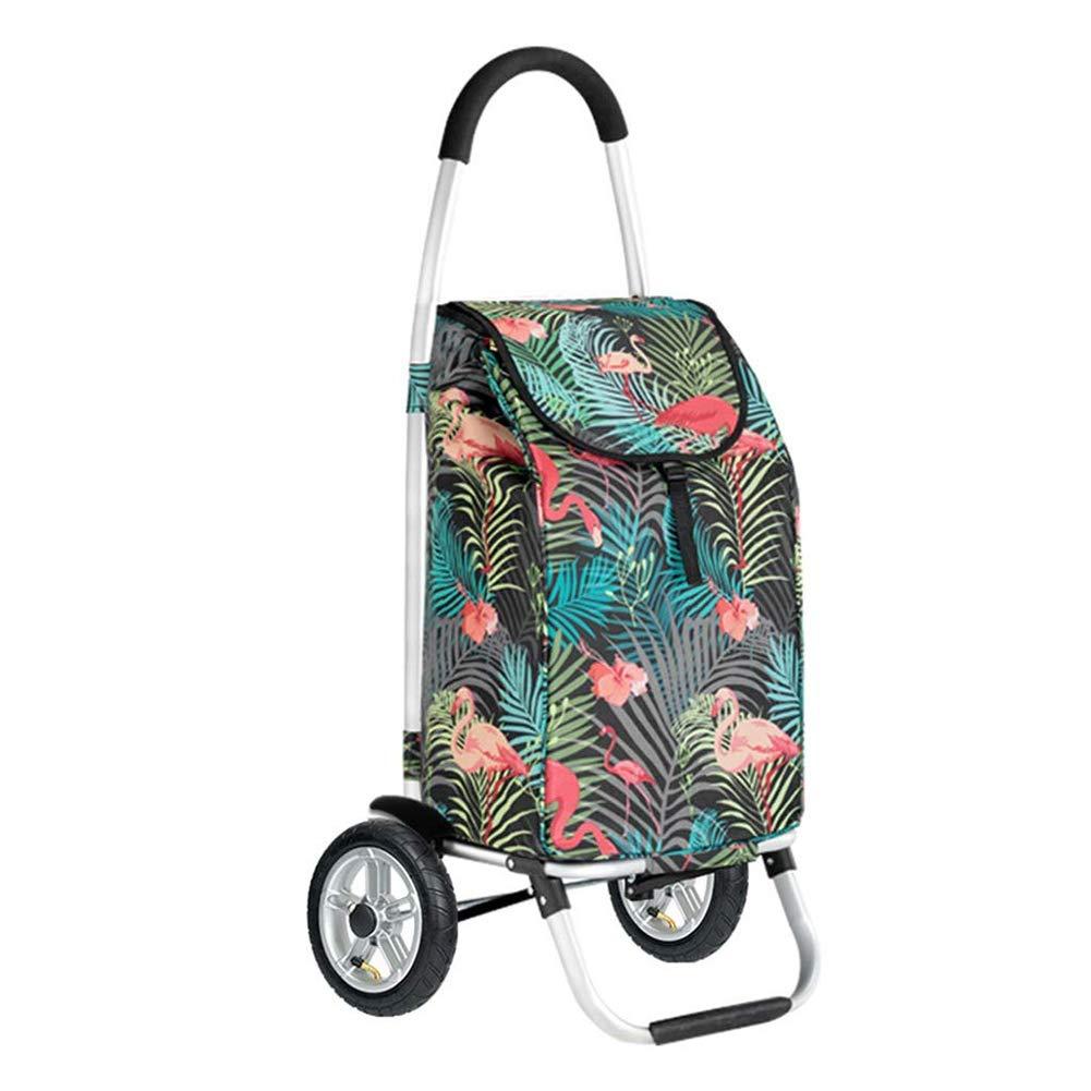 WJSWG Lightweight Shopping Trolley, Folding Travel Shopping Bags Trolley 2 Wheel Portable Home Shopping Trolley Bag