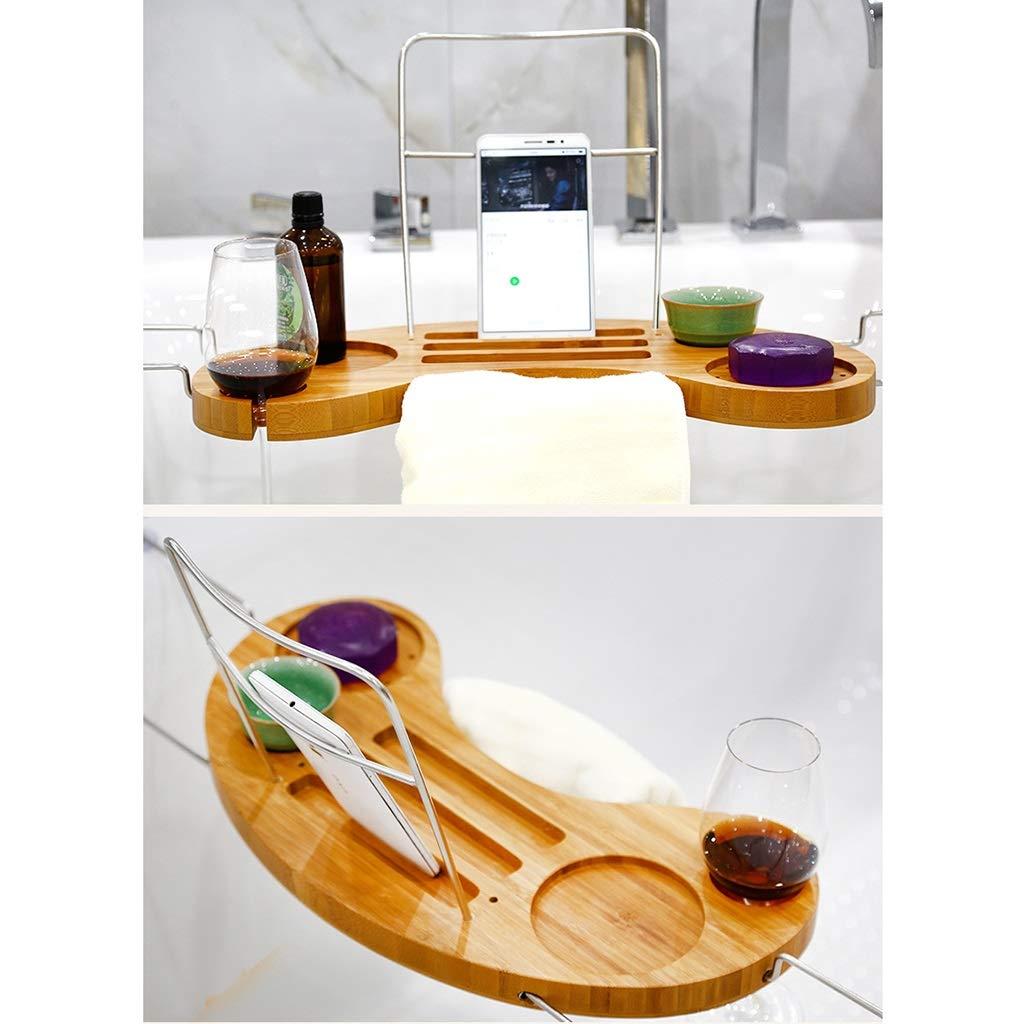 ZhaoLiRuShop Bathtub Trays Bath Caddy Bath Tray Bath Board Bamboo Household Telescopic Bathtub Frame Suction Cup Non-Slip Storage Bath Shelf (Color : Natural, Size : 9016cm) by ZhaoLiRuShop (Image #4)