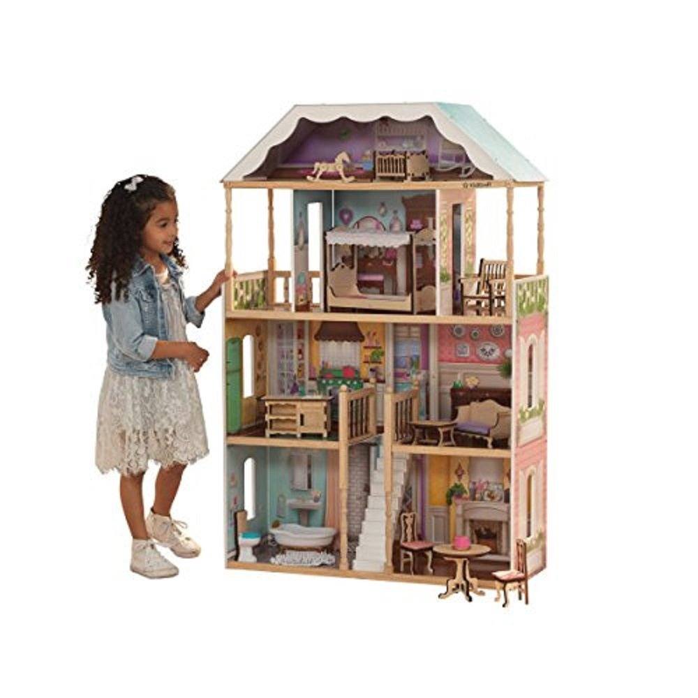 KidKraft Charlotte Dollhouse with EZ Kraft Assembly Children, Multicolor 65956