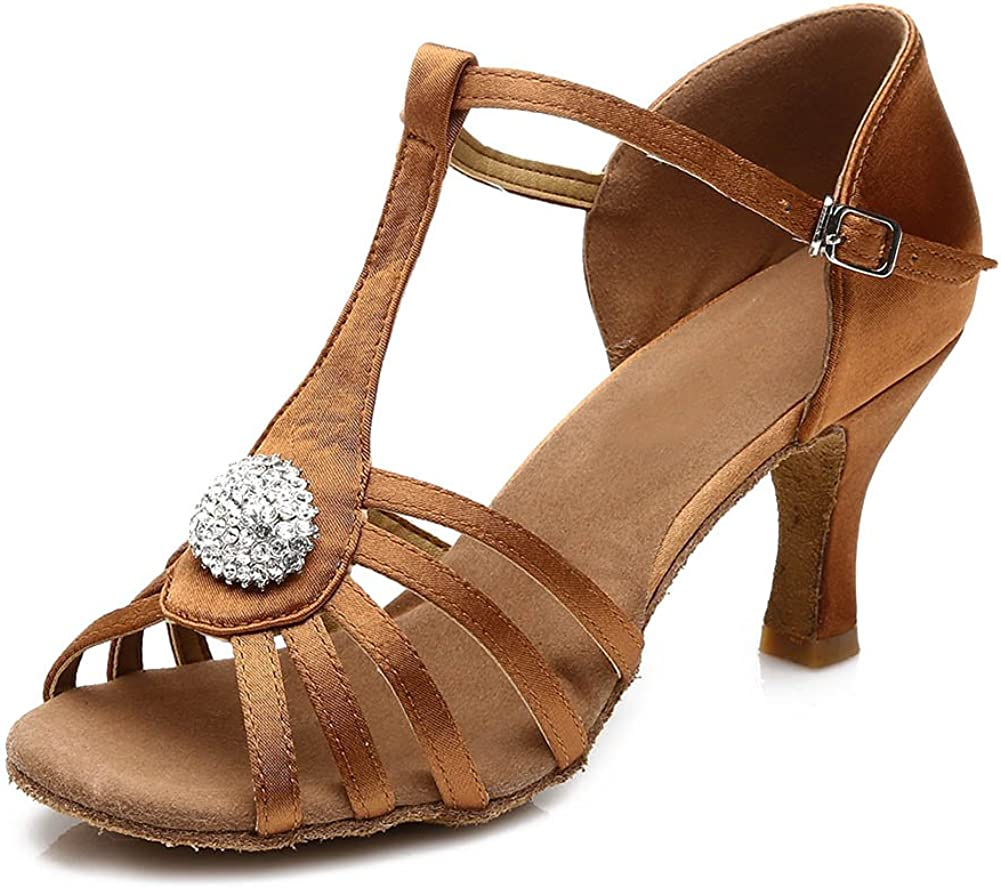 DKZSYIM Womens Satin Latin Dance Shoes Ballroom Performance Shoes Model 226