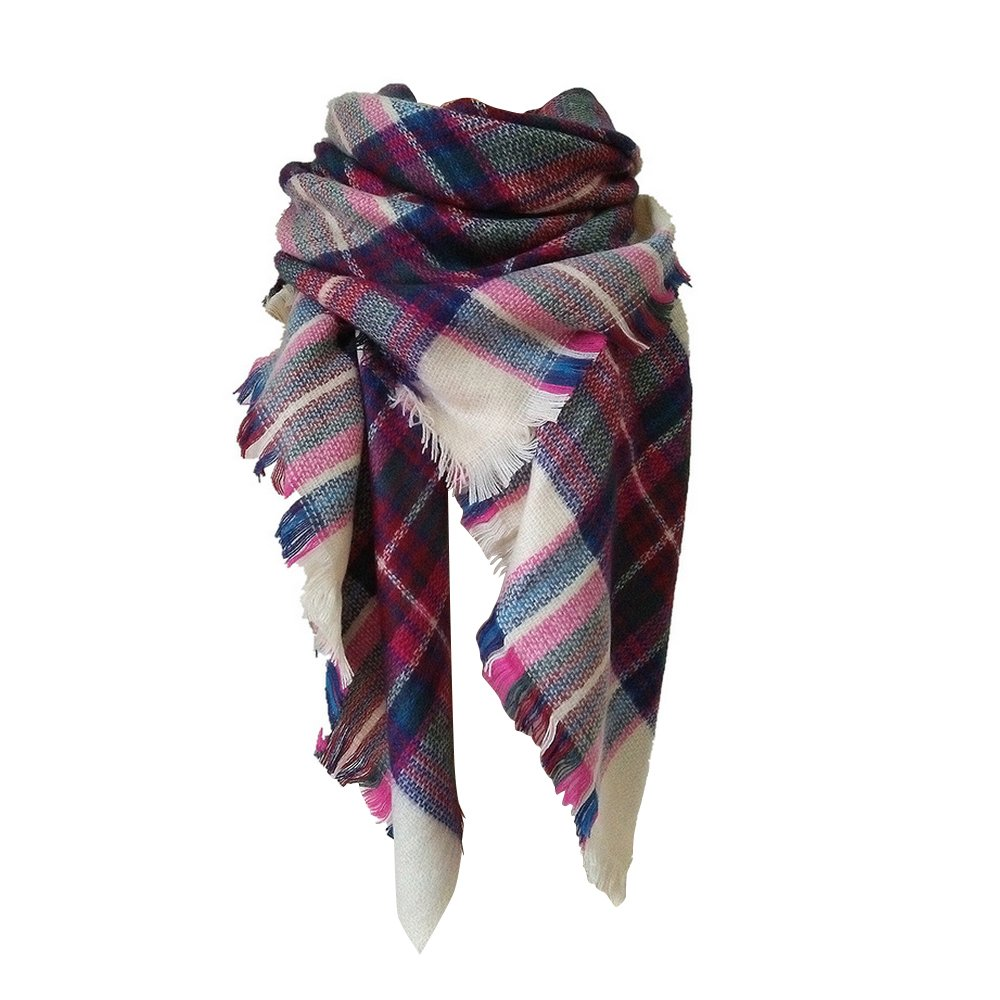Large Tartan Fashion Women Scarf Lovely Best Gift Warm Plaid Blanket Scarf Wrap Shawl (pink)