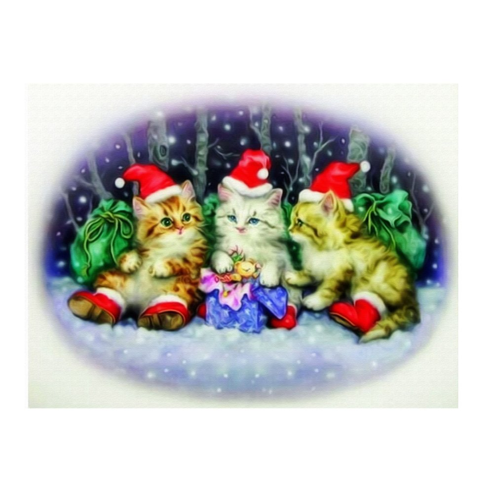 Whitelotous Christmas Cat 5D Diamond Painting Embroidery DIY Paint-By-Number Kit Home Wall Decor 16 x 12 Inch