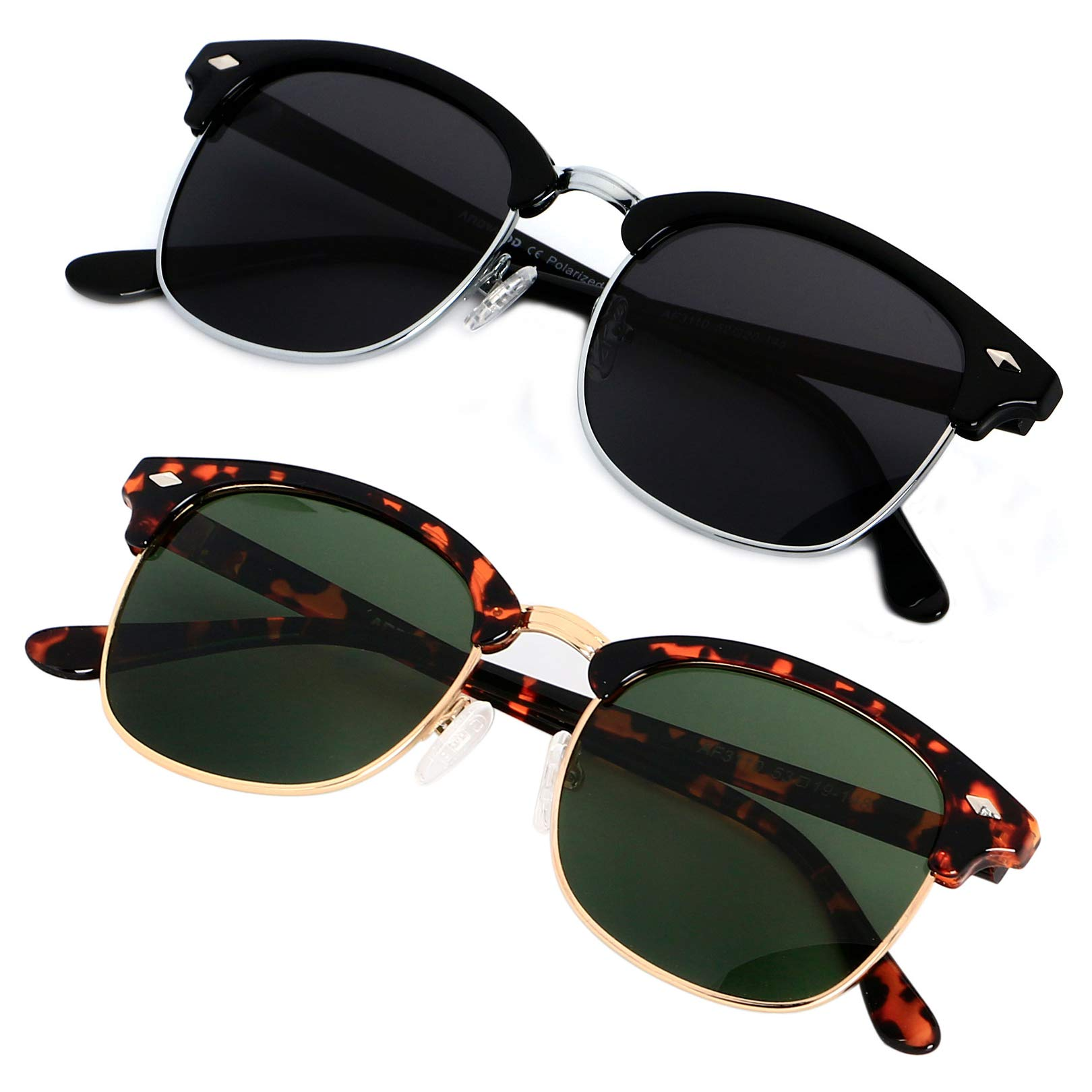 Polarized Sunglasses for Men Women Classic Half Frame Semi Rimless ANDWOOD Polarized Uv Protection by ANDWOOD