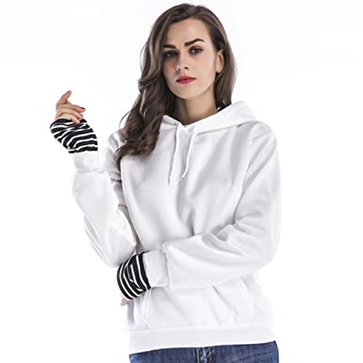 LLguz Women Fashion Casual Plus Thick Coat Long Sleeve Patchwork Hooded Blouse Tops