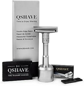 QSHAVE Premium Quality Adjustable Double Edge Safety Razor 700 (1 Razor, 1 Stand, 1 Leather Protective Sleeve & 5 pcs Titanium Coated Blades)