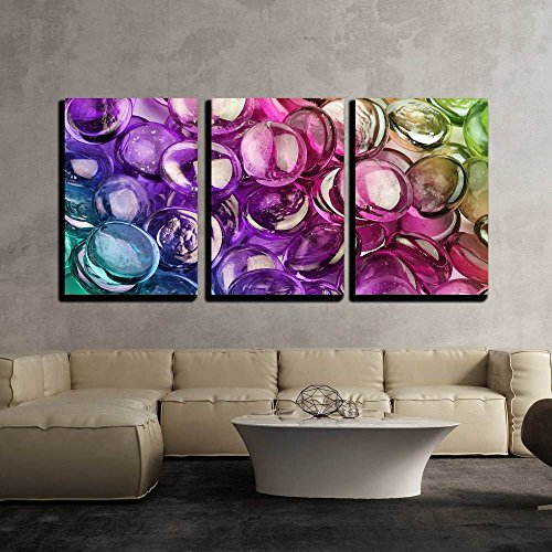 """wall26 - 3 Piece Canvas Wall Art - Close-Up of a Composition of Multicolored Glass Pebbles - Modern Home Decor Stretched and Framed Ready to Hang - 16""""x24""""x3 Panels"""