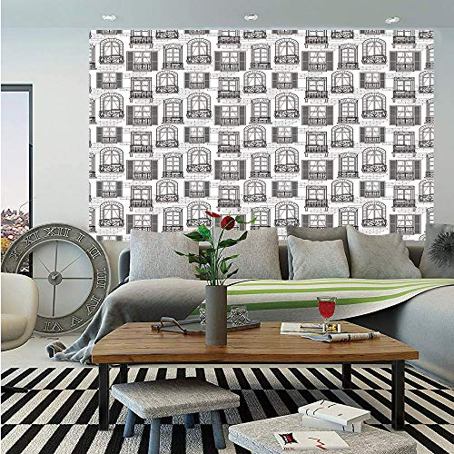 SoSung Geometric Wall Mural,Apartment Building Urban Architecture European Windows City Town Illustration Decorative,Self-Adhesive Large Wallpaper for Home Decor 83x120 inches,Grey White