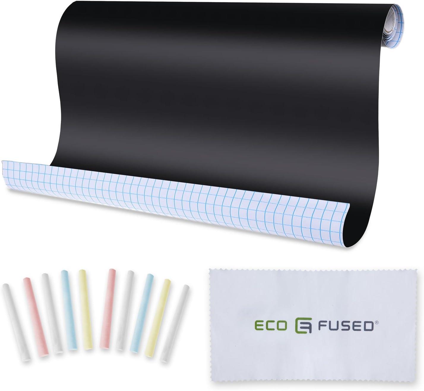 Adhesivo Tiza Papel 3 Paquete de 198 x 46 cm con 10 Tizas y borrador de tela – cortado en cualquier forma y se aplican – Personalizable y extraíble – Ideal para mensajes, listas de tareas pendientes,