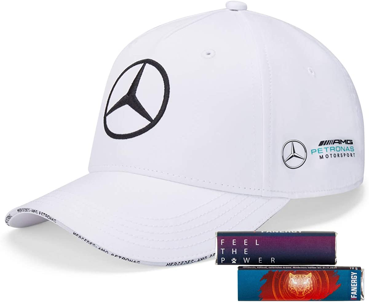4 x FANERGY Traubenzucker Mercedes AMG Petronas Team Polo T-shirt 2020 Blanc