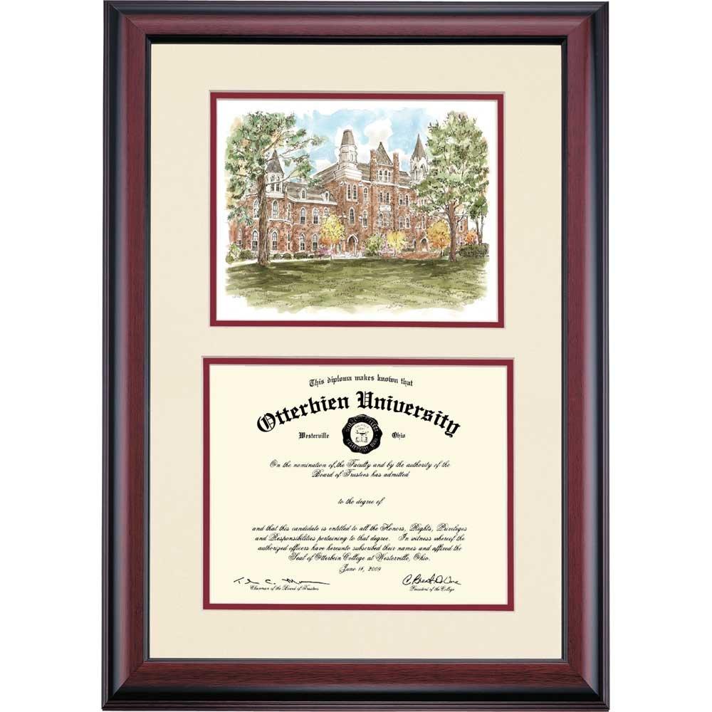 Otterbein Cardinals Diploma Frame Ivory Maroon Matting Watercolor