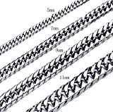 High Polished 5-11MM 16-36 Inches Stainless Steel Double Curb Chain Necklace Franco Cuban Chains for Mens Womens