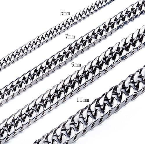 High Polished 7MM 16 Inches Stainless Steel Double Curb Chain Necklace Franco Cuban Chain for Mens Womens