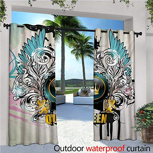 homehot Queen Fashions Drape Artistic Design Arms Shield with Crown Wings and Victorian Floral Elements Imperial Outdoor Curtain Waterproof Rustproof Grommet Drape W72 x L108 Multicolor ()