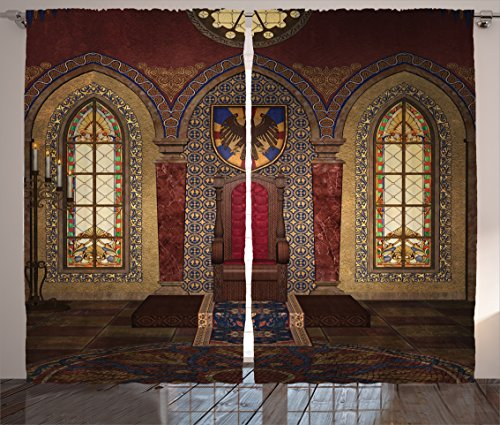 gothic house decor curtains by ambesonne red medieval throne in chapel eagle portrait on wall ancient fantasy church print living room bedroom decor - Maroon Room Decor