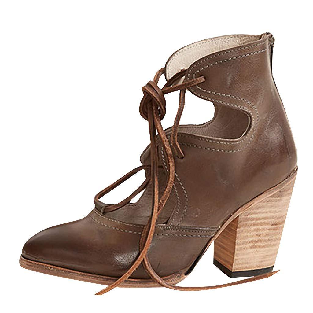 ✔ Hypothesis_X ☎ Womens Open Toe Heel Sandal Pumps Thick Heel Breathable Lace-Up Non-Slip Roman Shoes Sandals Brown