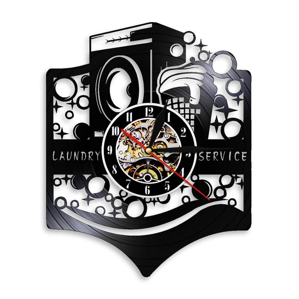 GZWSM Logotipo de la Sala de lavandería Cartel Comercial Reloj de ...