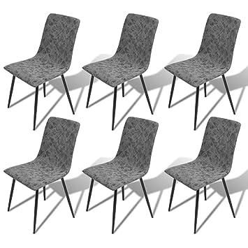 Festnight 6er Set Esszimmerstühle Essstuhl Küchenstühle Esszimmer Stühle  Sitzgruppe Mit Kunstleder Bezug Dunkelgrau