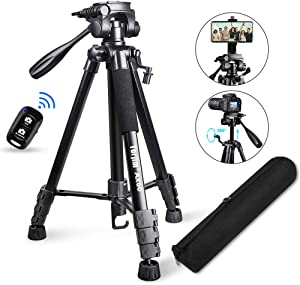 "Torjim 60"" Camera Tripod with Carry Bag, Lightweight Travel Aluminum Professional Tripod Stand (5kg/11lb Load) with Bluetooth Remote for DSLR SLR Cameras Compatible with iPhone & Android Phone-Black"