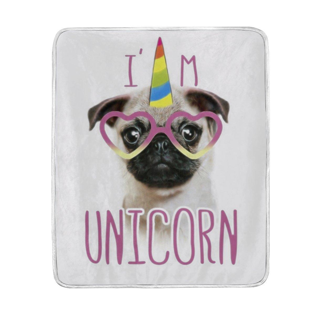ALAZA Rainbow Unicorn Cat Animal Plush Throws Siesta Camping Travel Fleece Blankets Lightweight Bed SOFE Size 50x60inches