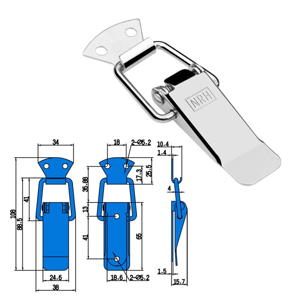 2 PCS Stainless Steel Padlock Hasp Clamps Door Case Box Latch Lock B 70mm
