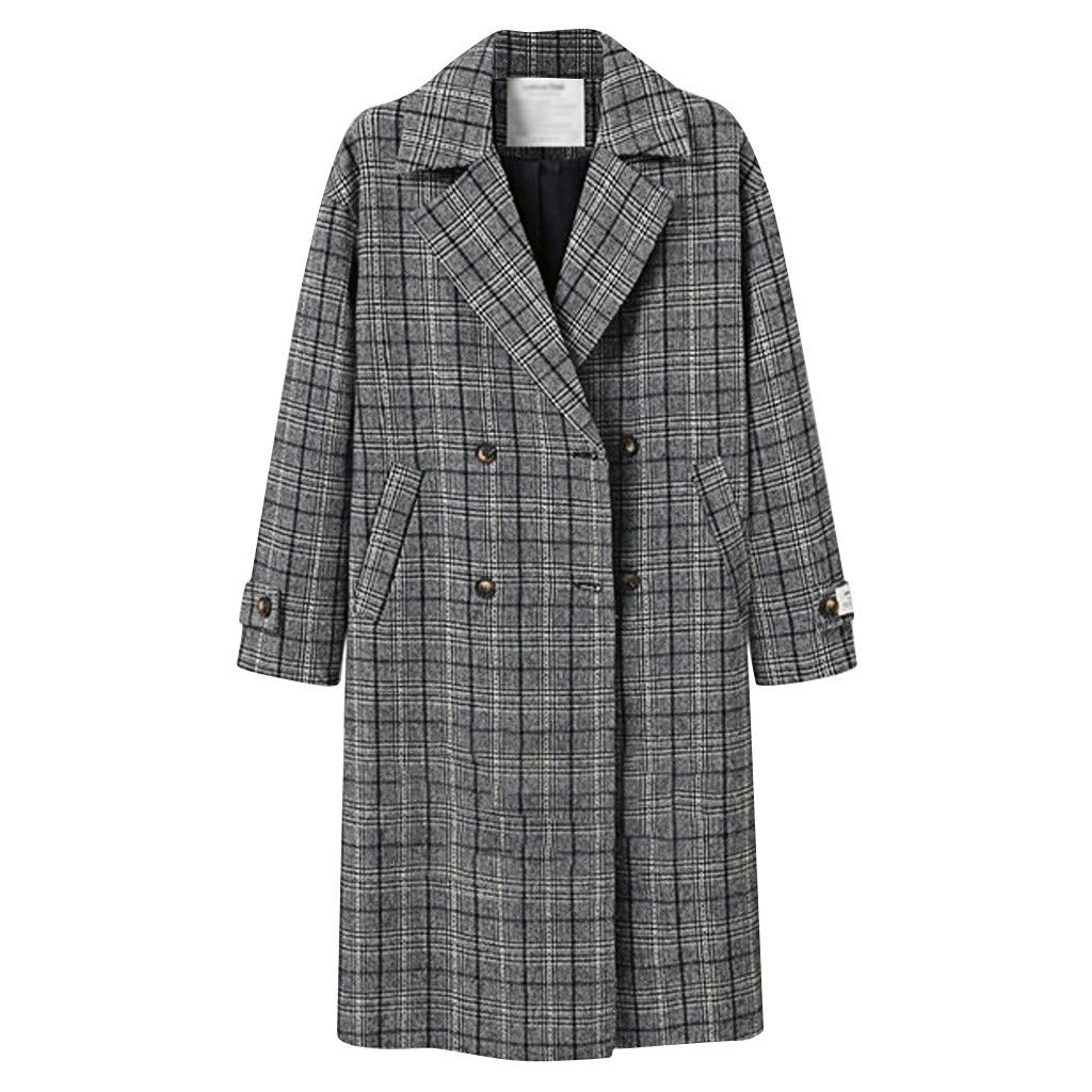 Willow S Women's Plaid Lapel Cardigan Jacket Windbreaker Plus Size Casual Loose Double-Breasted Padded Plus Cotton Coat Black by Willow S