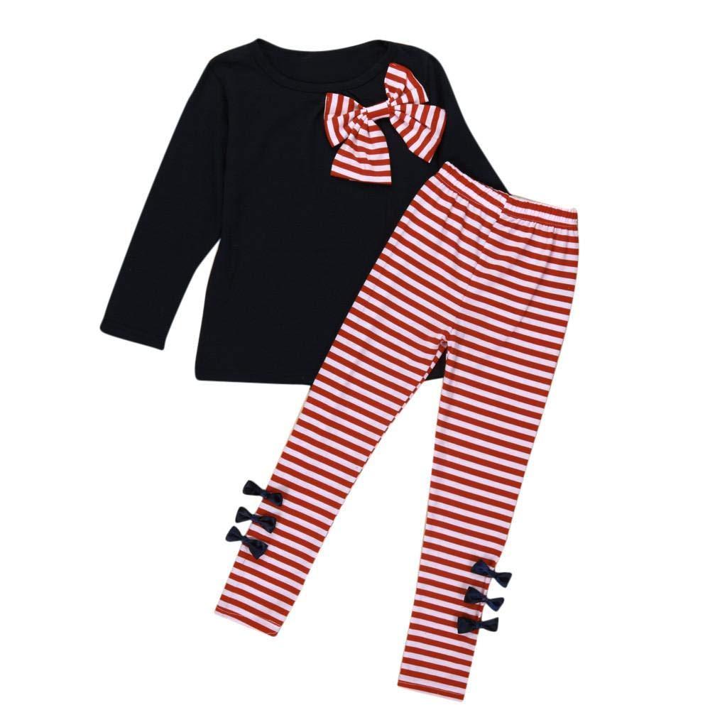 Mbby Tuta Bambino Ragazze, 2-8 Anni Completino Ragazza 2 Pezzi Tute in Cotone Invernale Autunno Maglietta con Arco + Pantaloni A Righe Set Caldo Manica Lunga Leggera Antivento