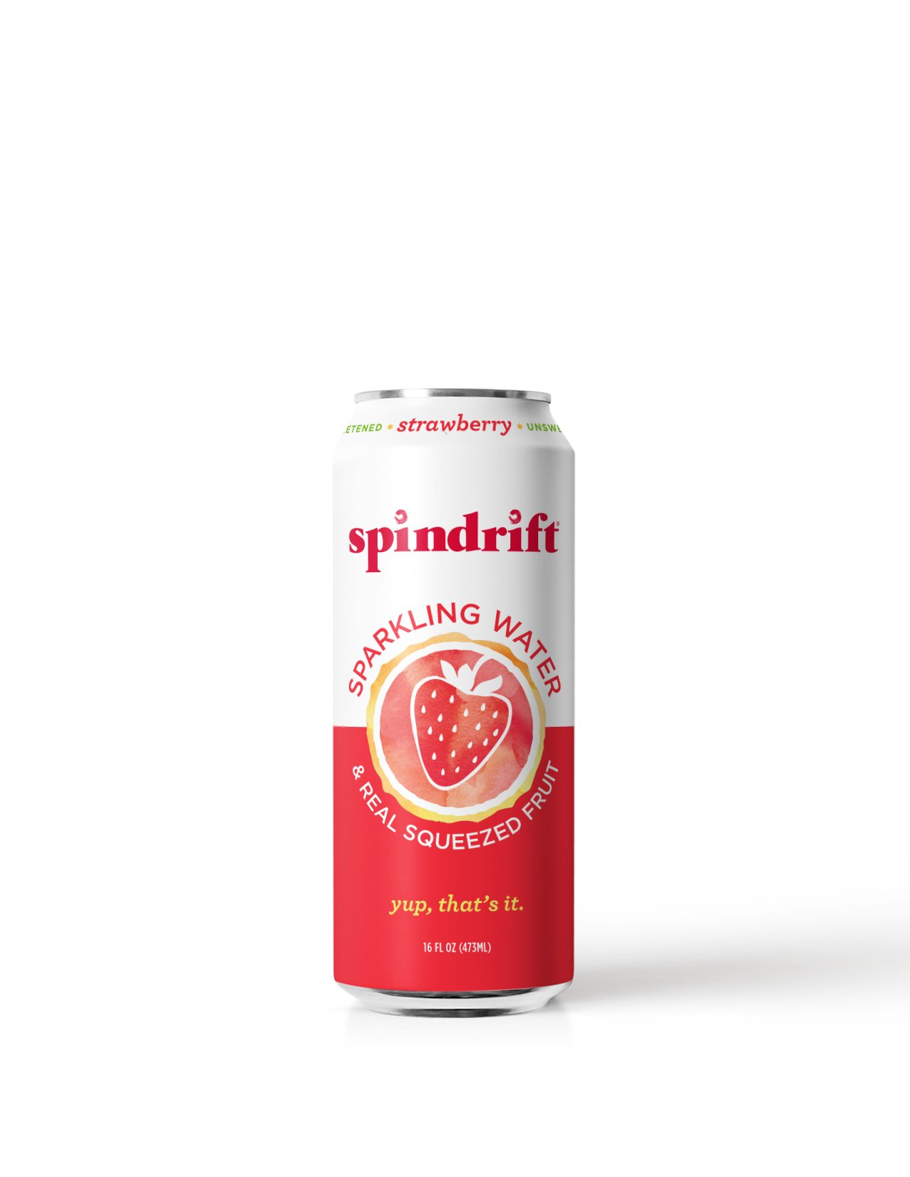 Spindrift Strawberry Sparkling Water, 16-Fluid-Ounce Cans, Pack of 12
