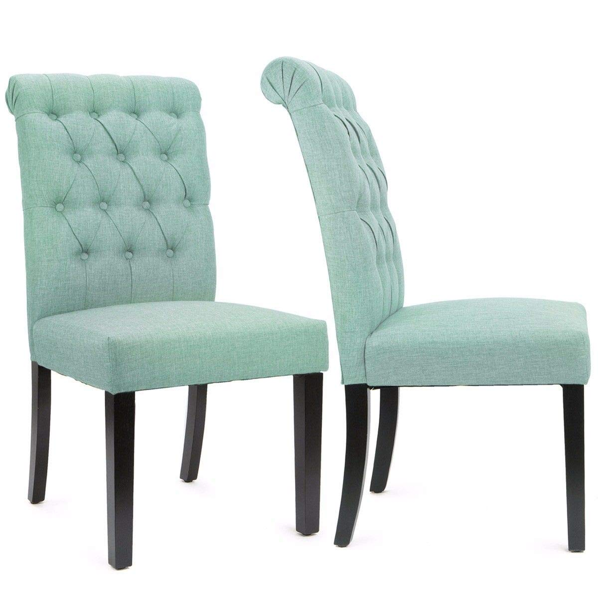 XtremepowerUS Dining Room Side Accent Armless Chair Tufted Padded Seat Backrest Chairs Wooden Legs, Set of 2 (Sea Mist)