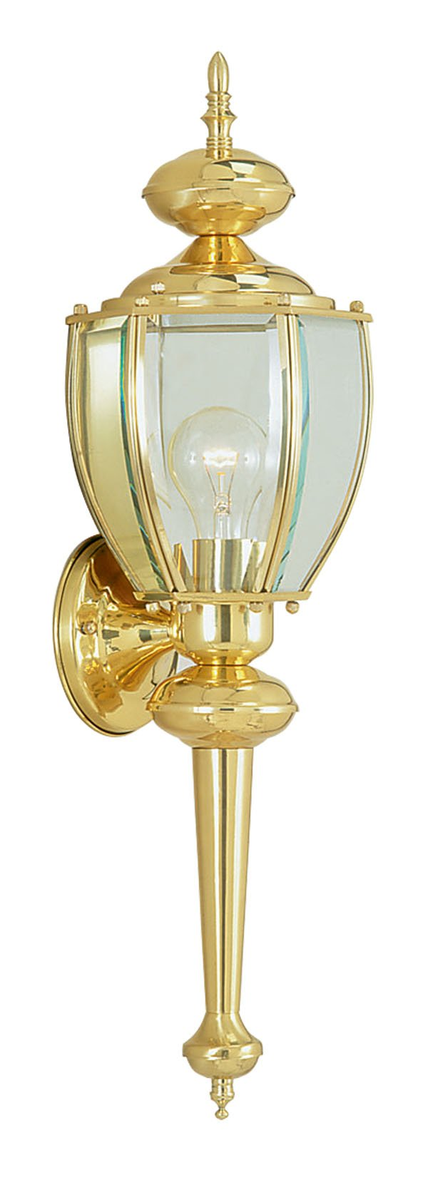 Livex Lighting 2112-02 Outdoor Wall Lantern with Clear Beveled Glass Shades, Polished Brass - TRADITIONAL DESIGN. Drawing inspiration from traditional furnishing and décor, our wide range of traditional style lights incorporate timeless designs that add a touch of elegance and blend in perfectly in your home. SOLID BRASS. High quality solid brass material which is not only aesthetically appealing thus adding to the elegance but also durable giving you value for your money. OUTDOOR. Built to withstand mechanical damage and exposure to harsh climatic conditions, these lights are not only durable but also elegantly designed to beautifully light up your compound. Add these outdoor lights to your backyard, front area, or to light up your pond in an exquisite way. - patio, outdoor-lights, outdoor-decor - 61HUUOPs yL -