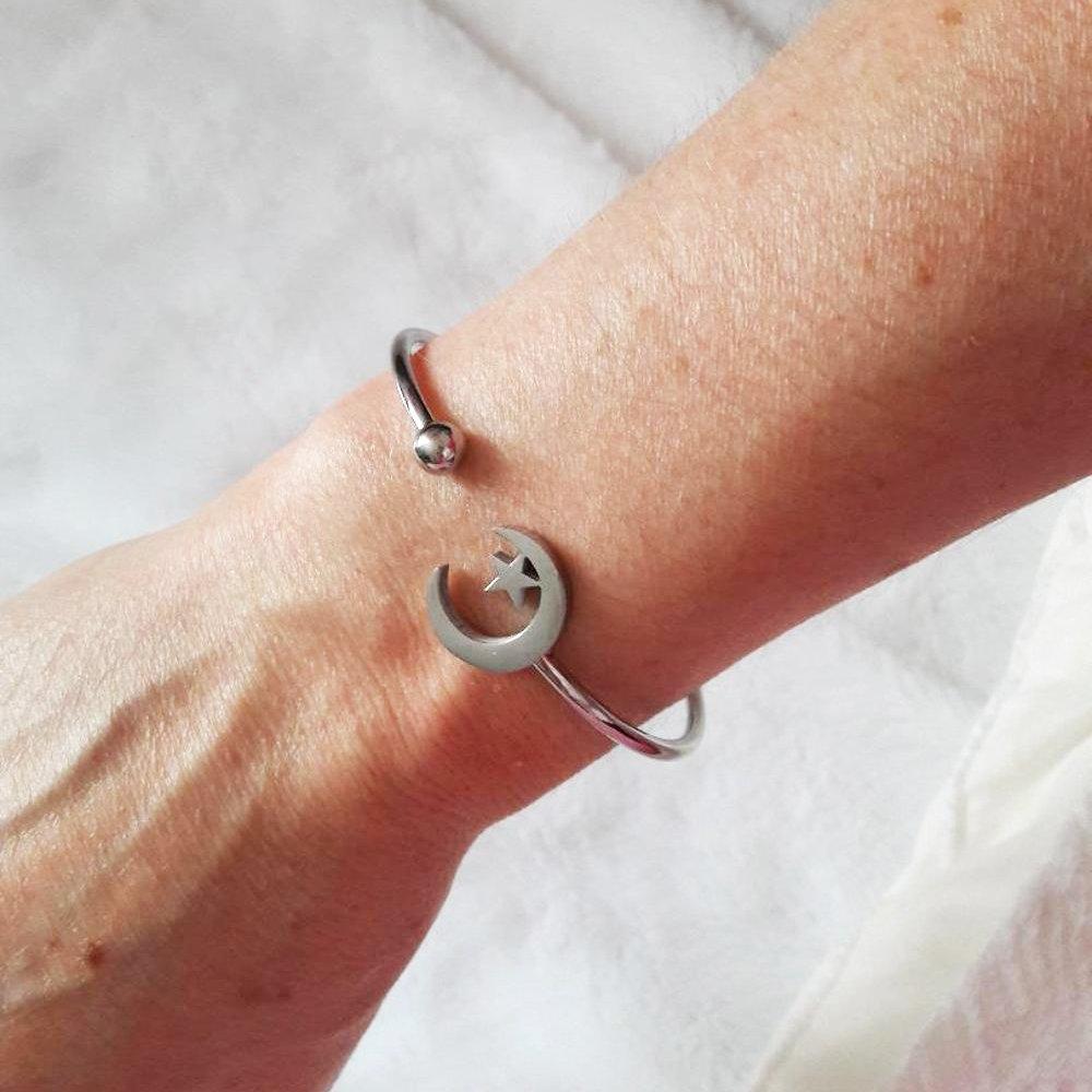 AOCHEE Fashion Women Girls Skinny Moon Star Open Cuff Bangle Bracelet
