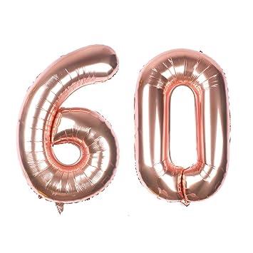 Globo gigante de oro rosa con número 60 de 40 pulgadas, globos de helio con número de aluminio Mylar para decoración de 60 cumpleaños, suministros de ...