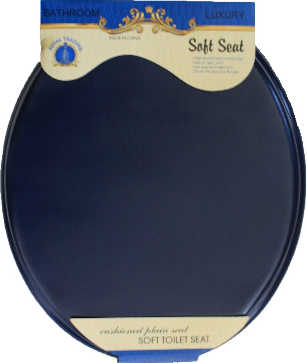 Ultra-Soft Standard Round Toilet Seat with Plastic Hinges (Navy)