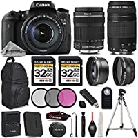 Canon EOS REBEL T6s DSLR Camera + Canon EF-S 18-135mm f/3.5-5.6 IS STM Lens + Canon EF 75-300mm f/4-5.6 III Lens - All Original Accessories Included - International Version