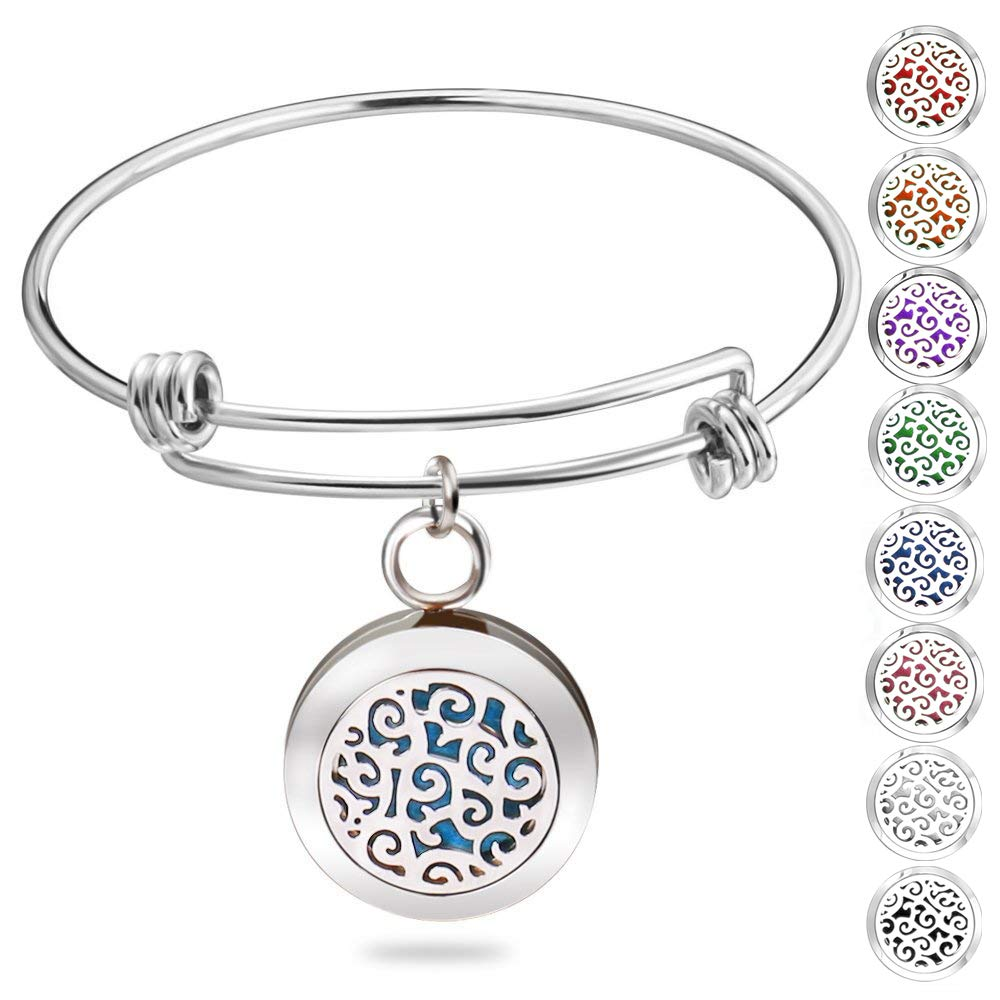 Essential Oil Diffuser Bracelet, Romanda Aromatherapy Bracelet, Diffuser Locket Stainless Steel Bangle with 8 Colors Pads, Jewelry Birthday Gifts for Women by Romanda