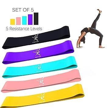 Terapia plana bandas de resistencia Set, látex libre soporte de ejercicio elástico bandas para estiramiento