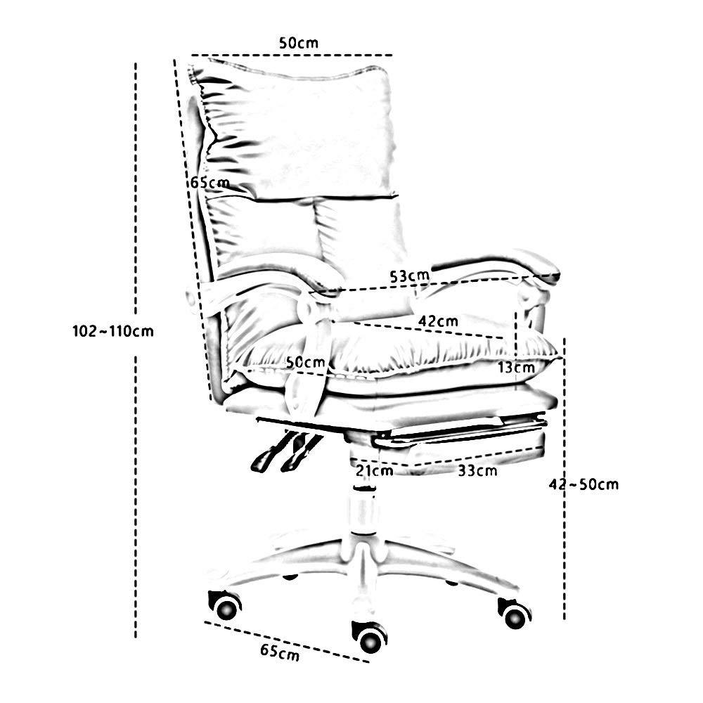 JIEER-C stol ergonomiskt högt ryggstöd kontor dator stol med fotstödsuppgift svängbar verkställande datorstol dubbel tjock kudde bärkapacitet: 150 kg, vit Vitt