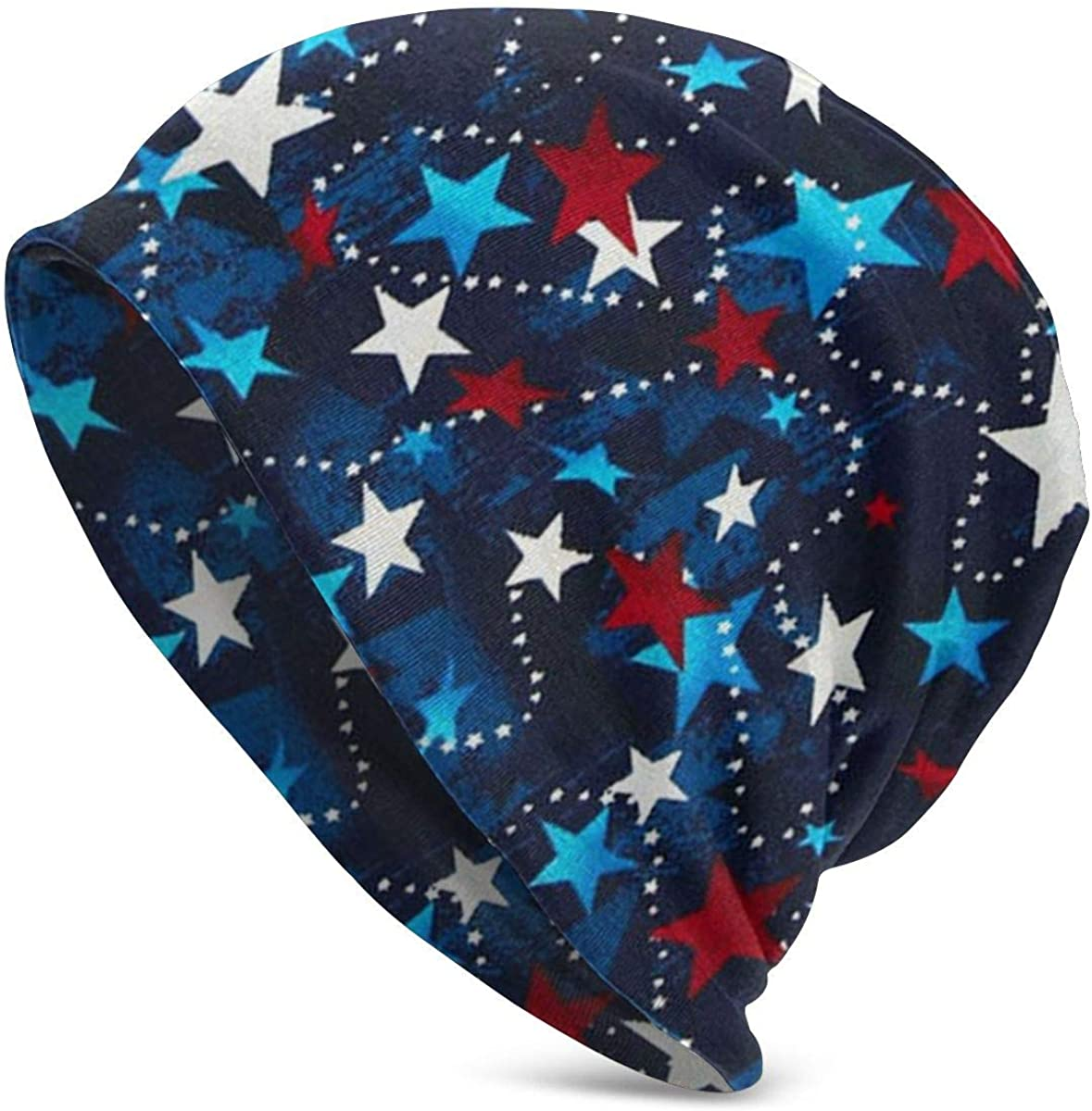 Made in The USA Stars Red White Blue Mens Womens Winter Beanies Knit Hat Stretch Skull Cap